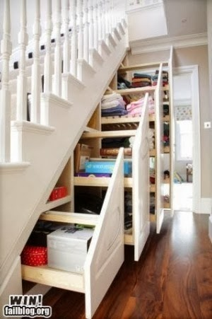 Utilizing the space under the stairs for storage