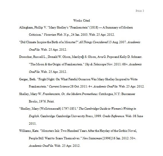 works cited apa essay