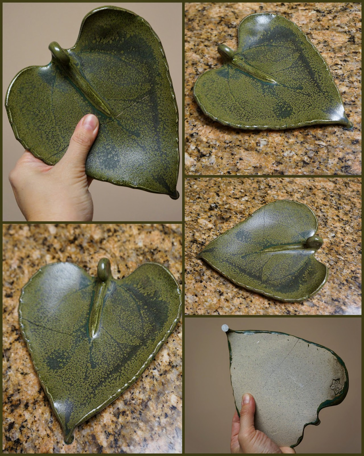Beautiful handmade ceramic dish made from pressed sunflower leaf.