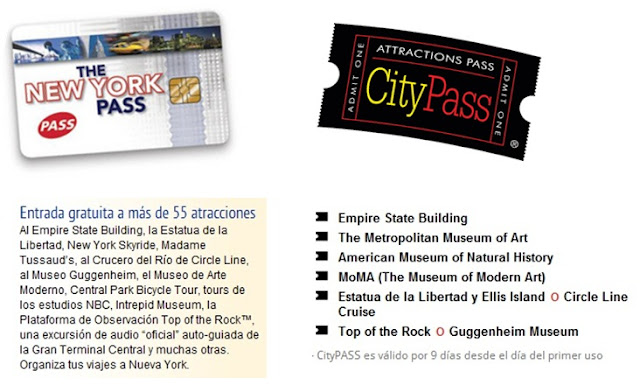 Bonos de atracciones en NY, New York Pass y City Pass