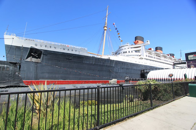 The legendary haunted Queen Mary's cruise ship at Long Beach, Los Angeles, California, USA