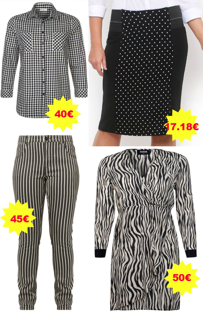 abiti black & white plus size in saldo
