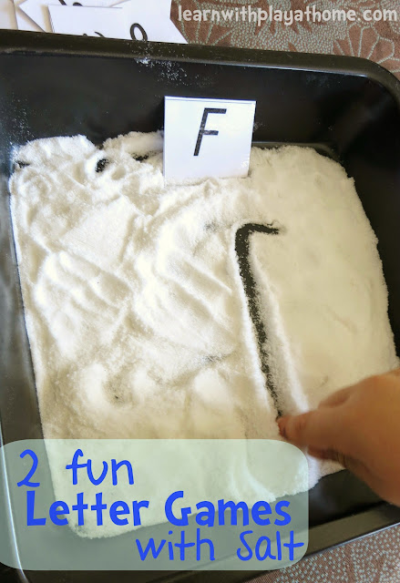 2 fun Letter Games with Salt. Sensory Letter Learning