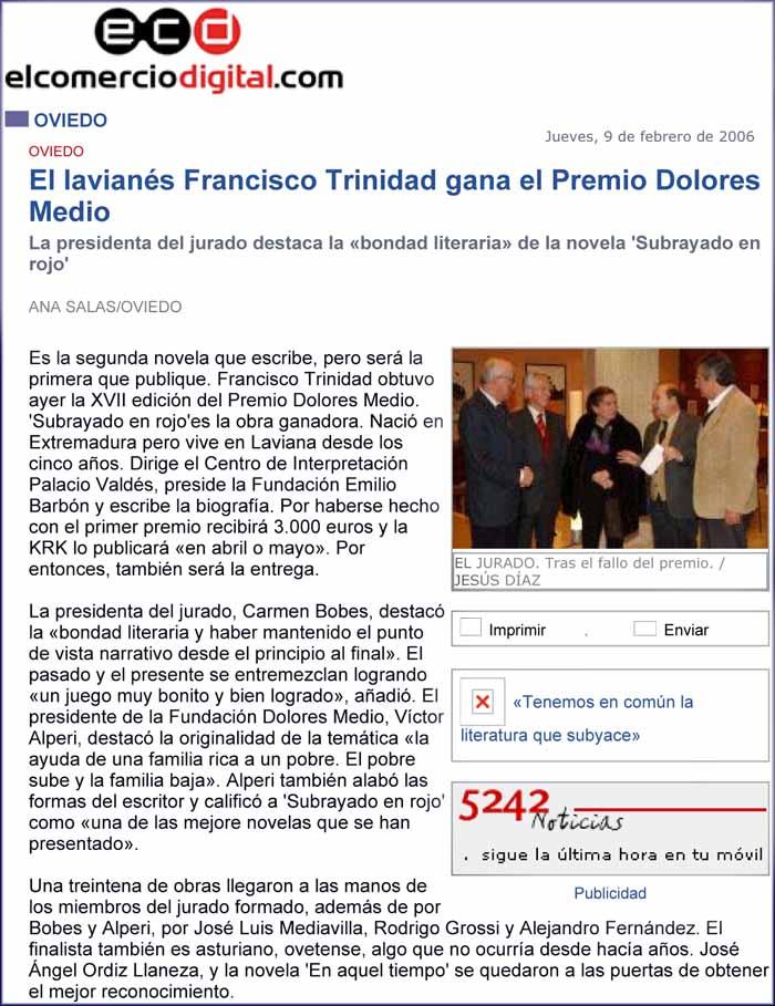 """Premio """"Dolores Medio"""" a Francisco Trinidad """"Subrayado en rojo"""""""