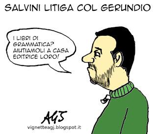 Salvini, grammatica, gerundio, satira vignetta