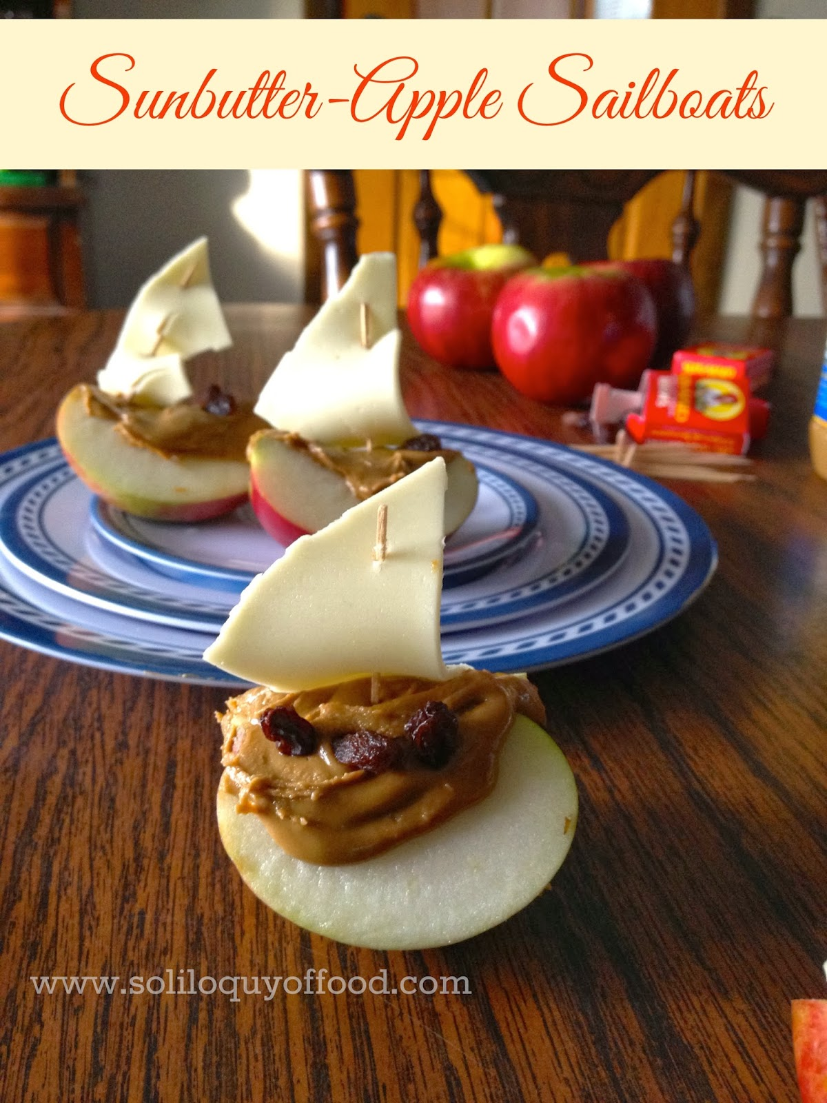 Sunbutter Apple Sailboats -Sunbutter IS gluten free!!