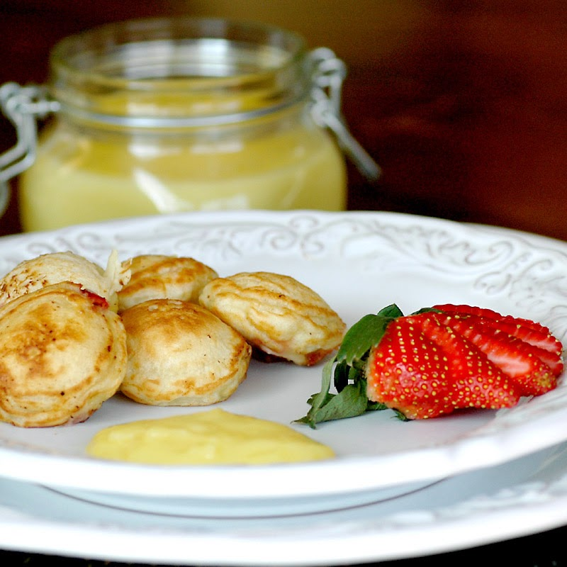 Strawberry Aebleskivers with Lemon Curd