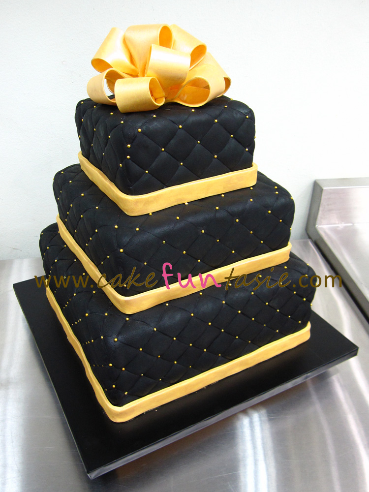 Cake Funtasie 3 Tier Black And Gold Cake