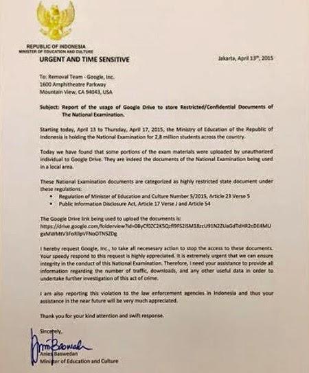 Surat Menteri Pendidikan yang ditujukan kepada pihak Google