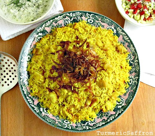 ... Baghali -Turmeric Rice With Yellow Fava Beans and Caramelized Onions