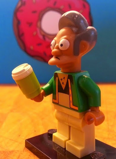 Apu Nahasapeemapetilon LEGO Simpsons minifigure character holding Squishee cup