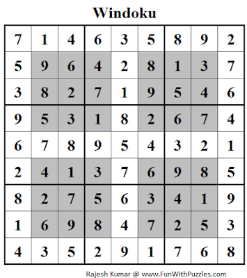 Windoku (Daily Sudoku League #117) Solution
