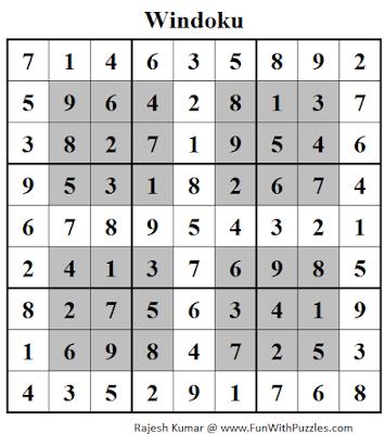 Windoku (Daily Sudoku League #117) Solution