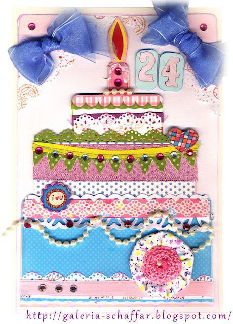 urodzinowa kartka w formie tortu, torcik Kasi Galeria Schaffar
