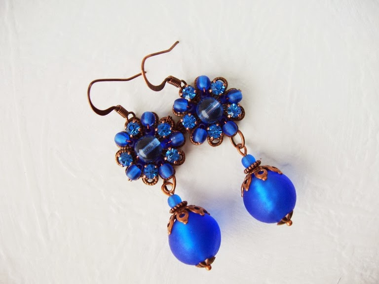 vintage Swarovski mdmButiik designer Estonian jewelry Bijoux ancienne perles de verre boucles Schmuck ohringe Swarovski crystal glas setine perlen