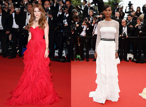 Isla Fisher in Oscar de la Renta and Liya Kebede in Alberta Ferretti