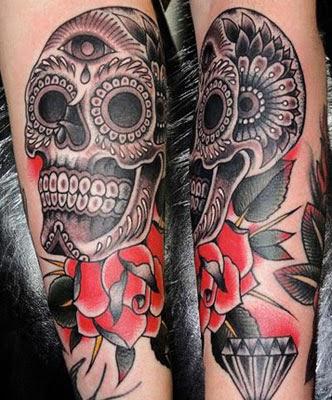 Tatuagem de caveira mexicana fica bom em homens