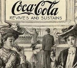 Propaganda da Coca-Cola em 1896 que prometia energia e vigor às pessoas.