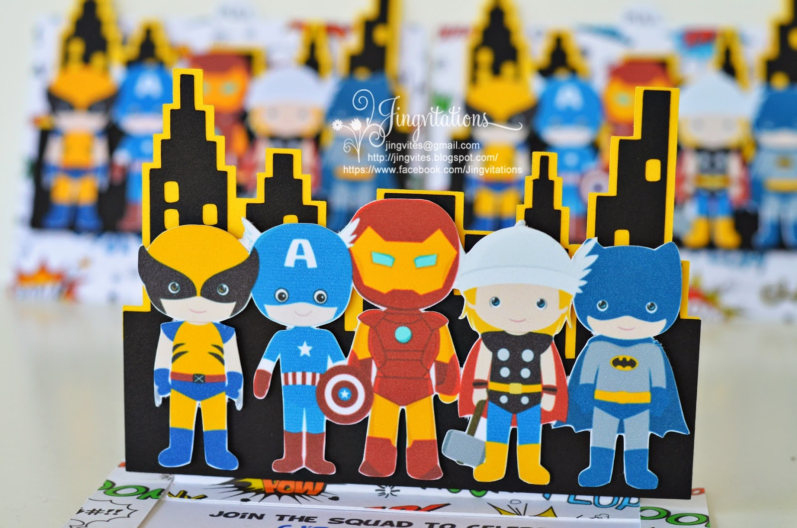 Superhero Invitations: Ironman, Capt America, Thor, Wolverine, Batman