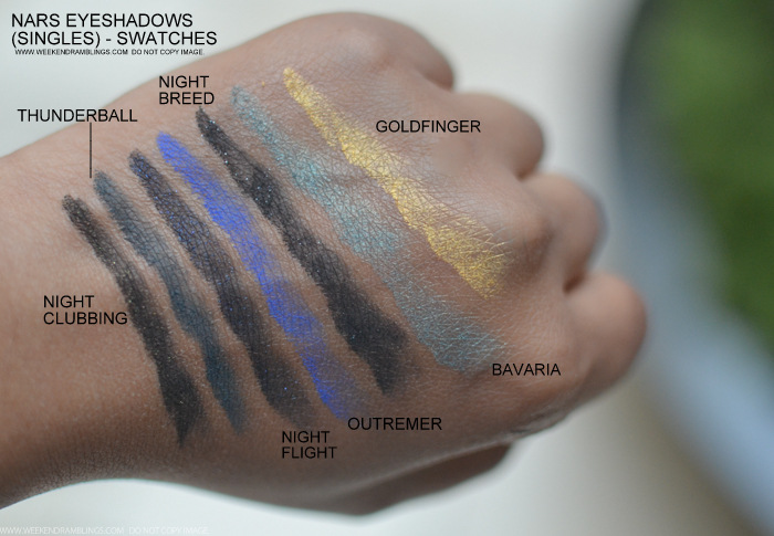 NARS Eyeshadows Night Clubbing Thunderball Outremer Night Flight Night Breed Bavaria Goldfinger Swatches Indian Beauty Makeup Blog