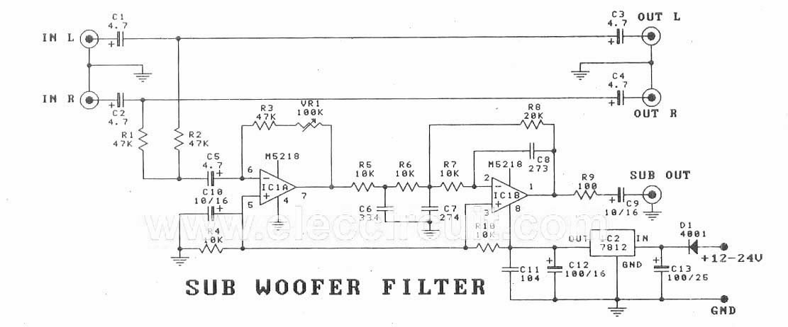 cheap car subwoofer filter circuit collection schematic rh nicewiring blogspot com 12v car subwoofer circuit diagram car subwoofer amplifier circuit diagram