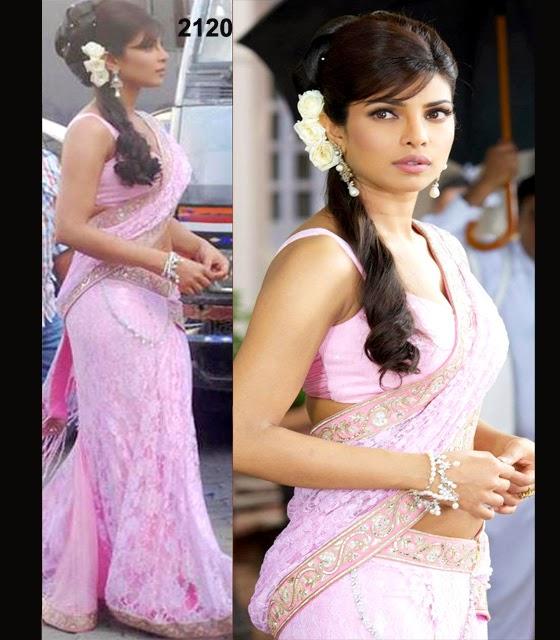 Priyanka Chopra Rose Pink Lehenga Saree