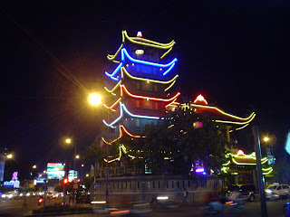 Pagoda at night full moon celebration. Ho Chi Minh City. Vietnam
