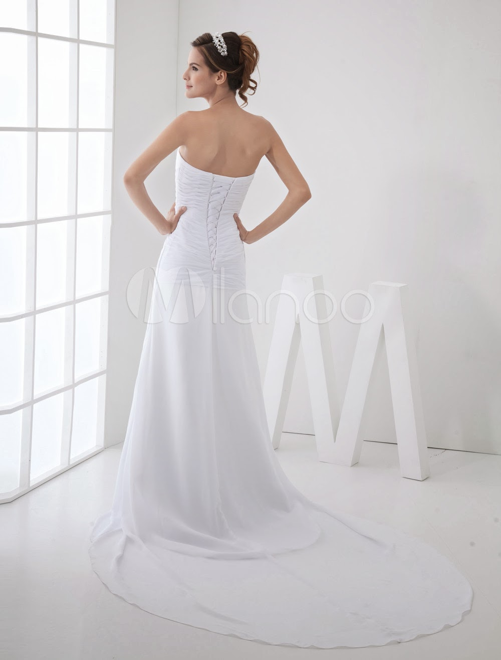 China Wholesale Dresses - Simple A-line Strapless Beading Satin Chiffon Wedding Dress