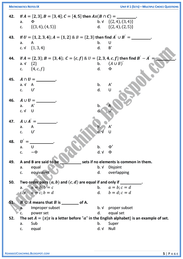 sets-mcqs-mathematics-notes-for-class-10th