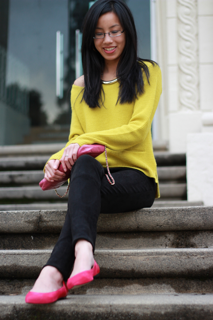 Rachel rachel roy bright citron sweater talbots fuchsia suede flats alice and olivia suede leggings chanel flap
