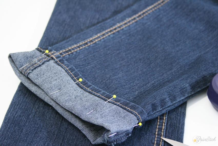 gr nstich jeans mit originalsaum k rzen. Black Bedroom Furniture Sets. Home Design Ideas