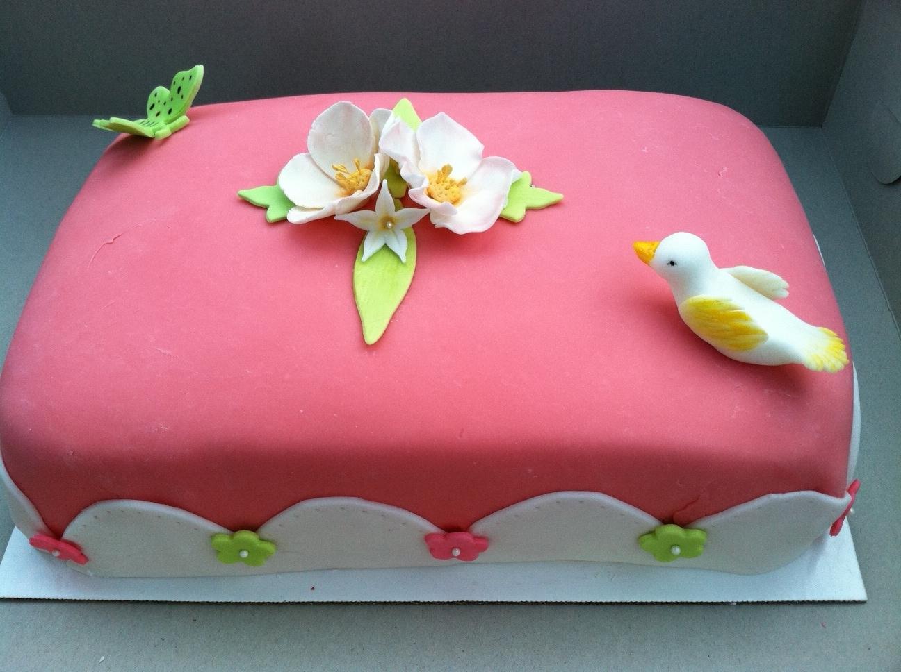 Pink With Birdflower Cake Spring Cake Fun Sugar Cookies