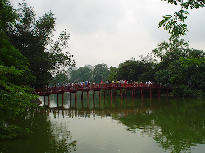 Huc Bridge on Hoan Kiem Lake in Hanoi, Vietnam