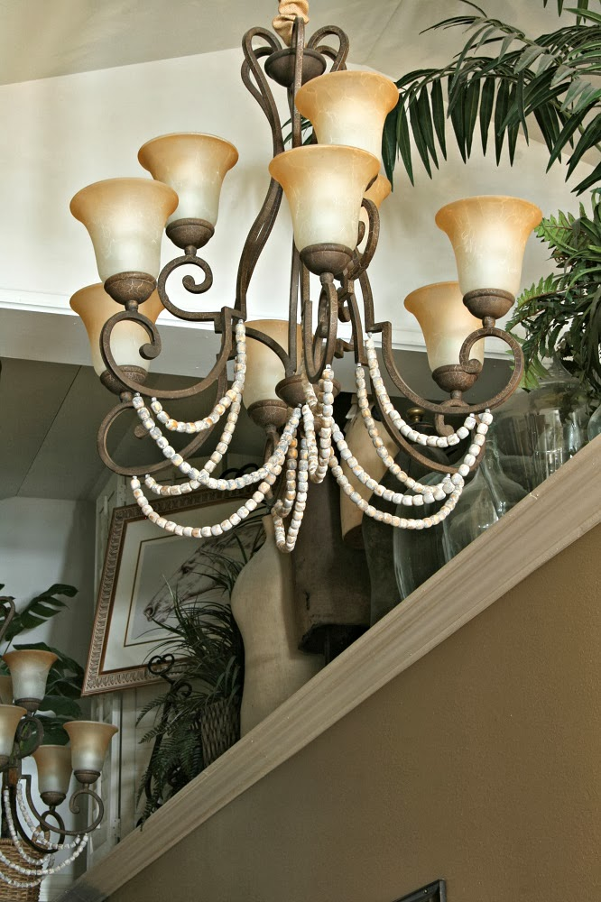 repurposed wood bead seat covers, wood beads, magnetic chandelier chain