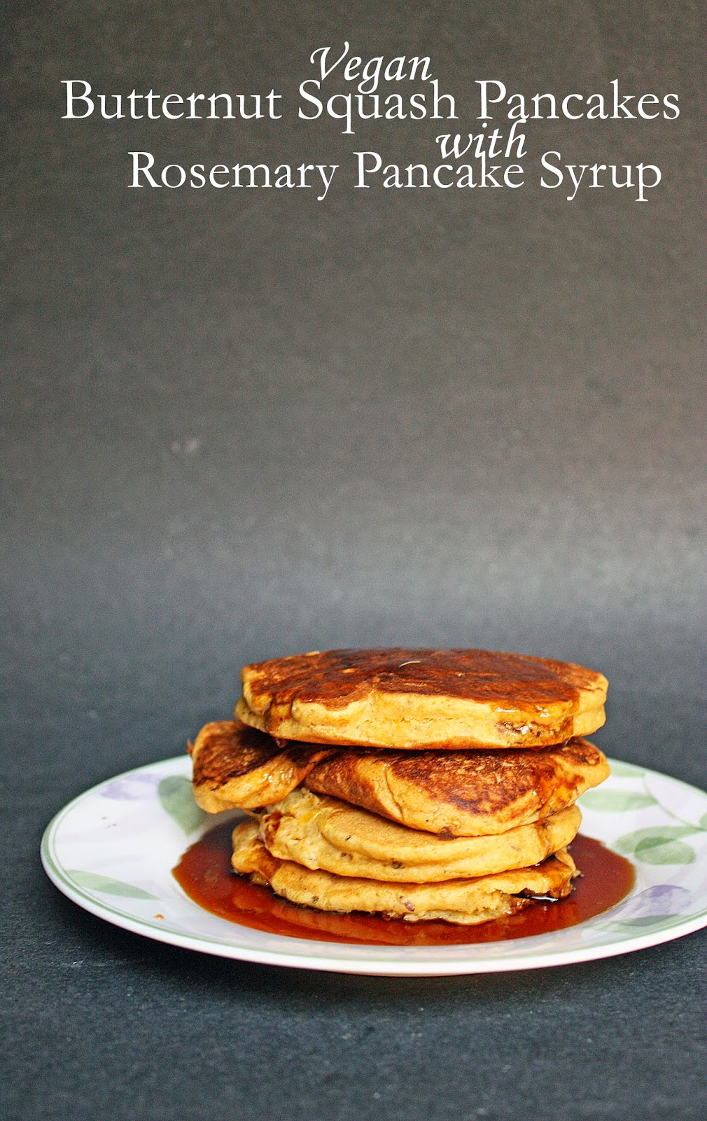 vegan butternut squash pancakes with homemade rosemary syrup