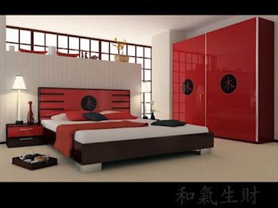 dormitorio matrimonial color rojo