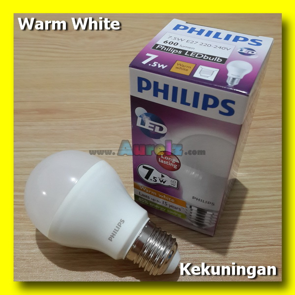 lampu led philips 7.5 watt warm white