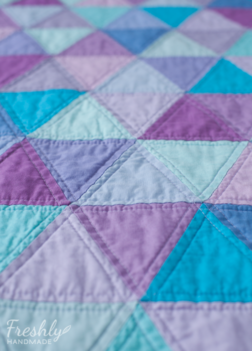 Freshly Handmade: Purple and Turquoise Triangle Quilt: Finished ... : blue and purple quilt - Adamdwight.com
