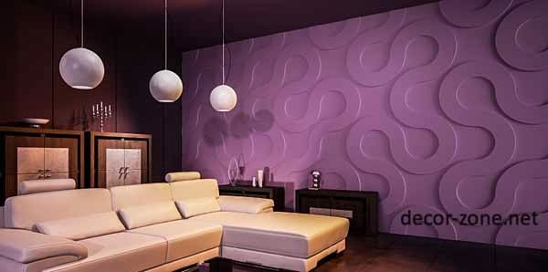 Purple 3d Wall Panels Ideas For Living Room