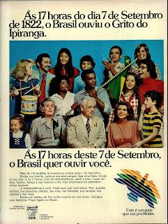 """propaganda  comemorações da Independência  Brasil - slogan """"Este é um país que pra  frente"""" - 1976. os anos 70; propaganda na década de 70; Brazil in the 70s, história anos 70; Oswaldo Hernandez;"""