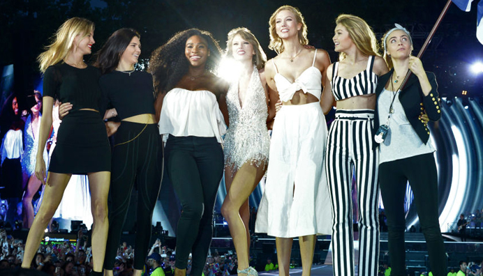 Singer Taylor Swift invites her friends Kendall Jenner, Serena Williams, Gigi Hadid, Karlie Kloss, Cara Delevigne on the stage during a performance at the concert of her 1989 tour