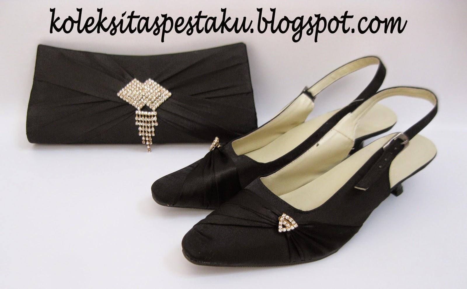Sepatu Pesta Cantik dan Tas Pesta Clutch Bag Mewah Hitam Bross Silver
