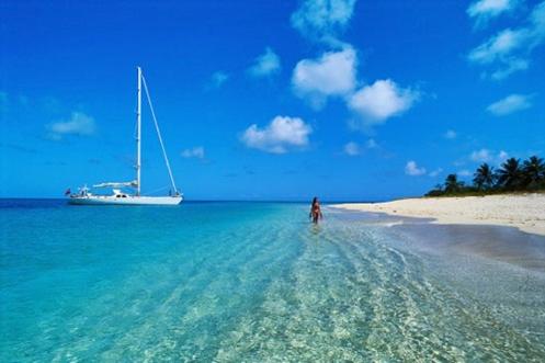 Visão panorâmica de praia nas Ilhas Maurício