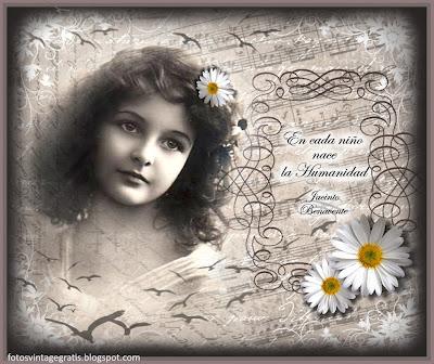 fondo vintage con foto antigua de niña y margaritas