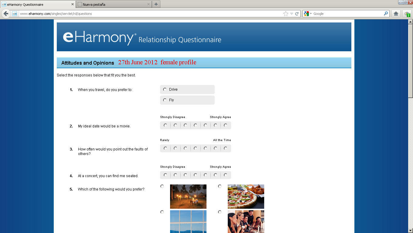 Eharmony dating questionnaire