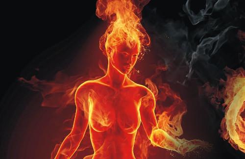 Ilustração de uma mulher em chamas (não estamos falando de Jogos Vorazes)