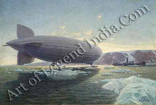 The Graf Zeppelin, This celebrated rigid airship, built in 1928, was piloted by Hugo Eckener on a round the world trip the following year. The 21,255 mile flight was completed in 20 days, 4 hours and 14 minutes. This painting of the Graf Zeppelin shows the airship on a regular flight in 1931, one of the malty during nine years of service.