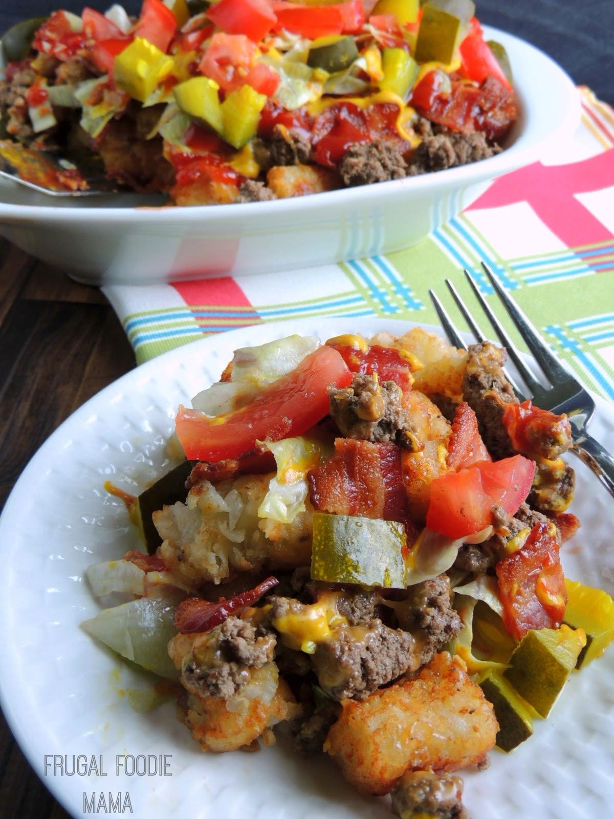 Bacon Cheeseburger Tatchos via thefrugalfoodiemama.com