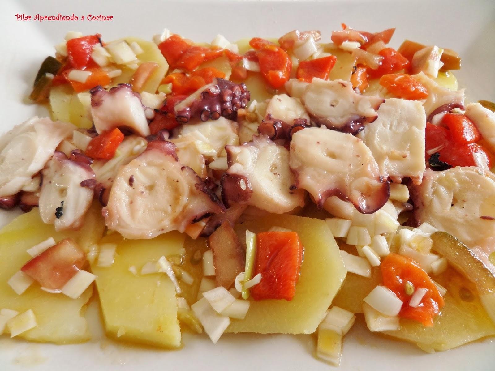 Aprendiendo a cocinar ensalada de pulpo asado con patatas for Cocinar pulpo