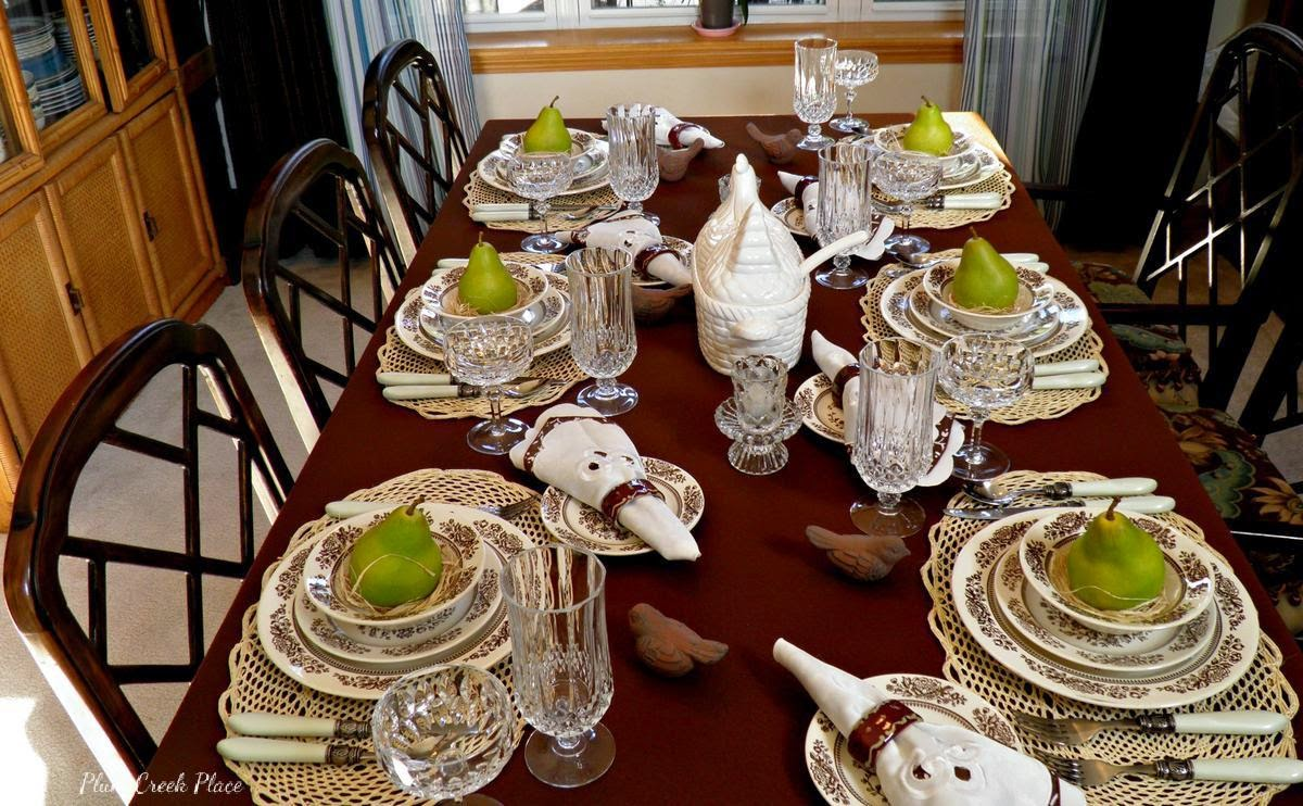 Vintage china, crystal stemware, brown and white tablescape, Fall tablescape, tablescape,